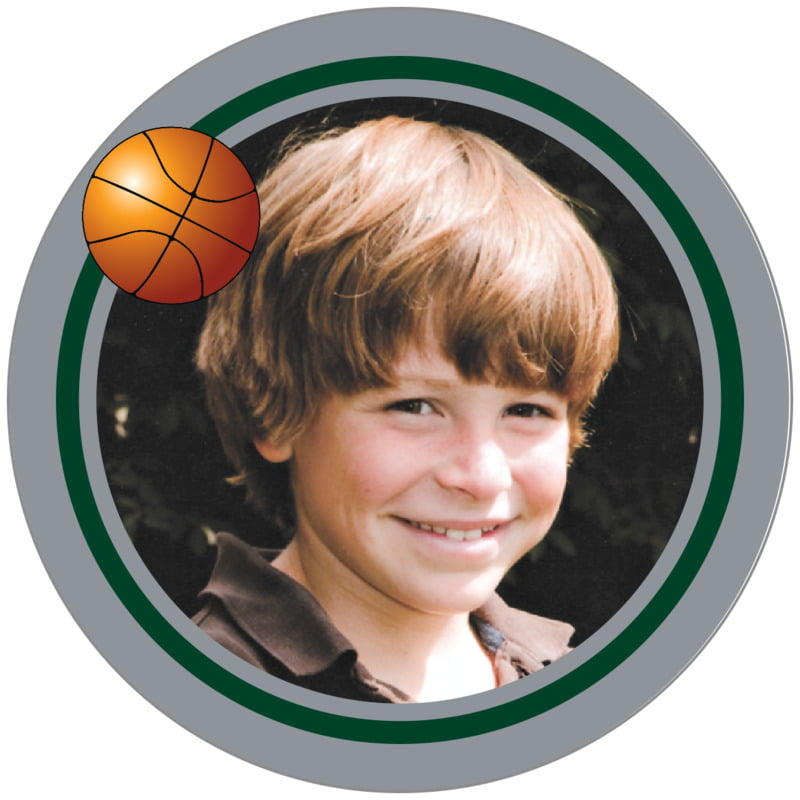 circle photo labels - forest & silver - basketball (set of 20)