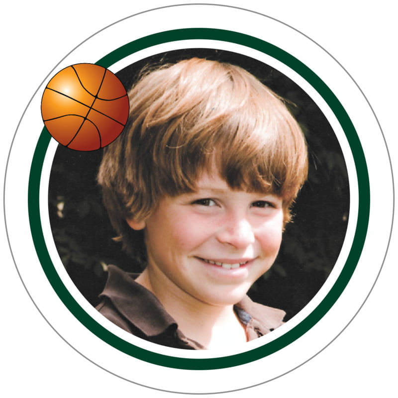 circle photo labels - forest & white - basketball (set of 20)