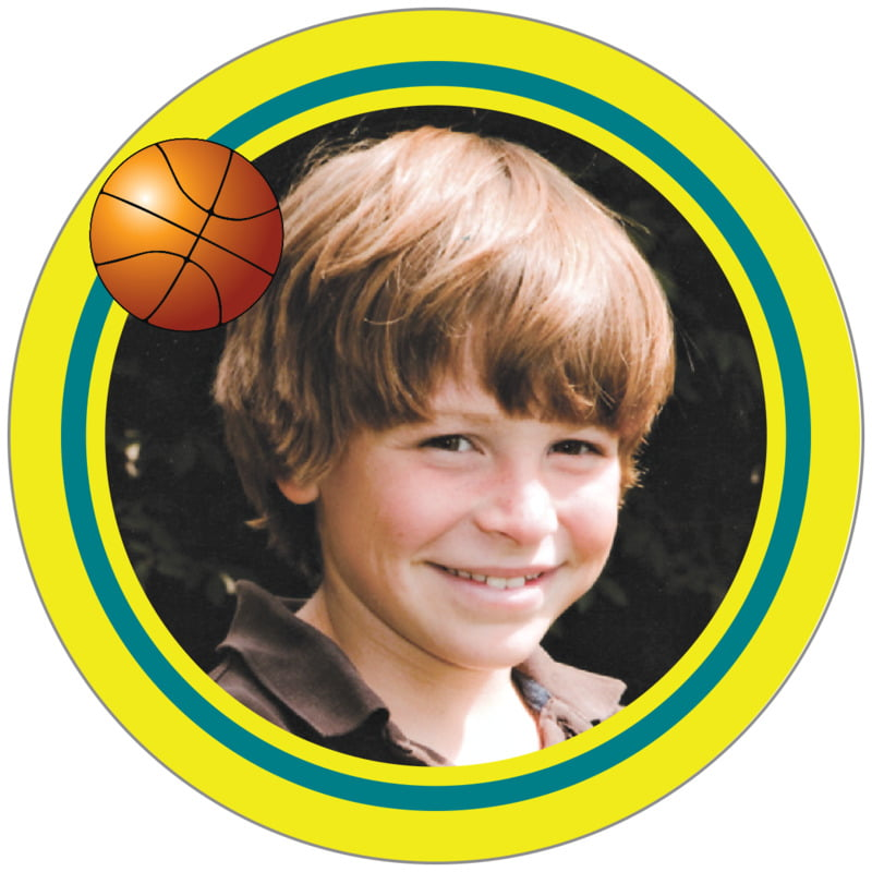 circle photo labels - teal & yellow - basketball (set of 20)