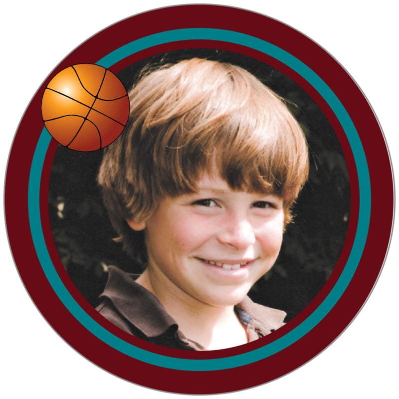 circle photo labels - teal & maroon - basketball (set of 20)
