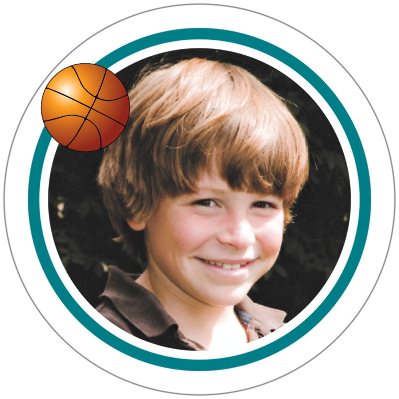 circle photo labels - teal & white - basketball (set of 20)