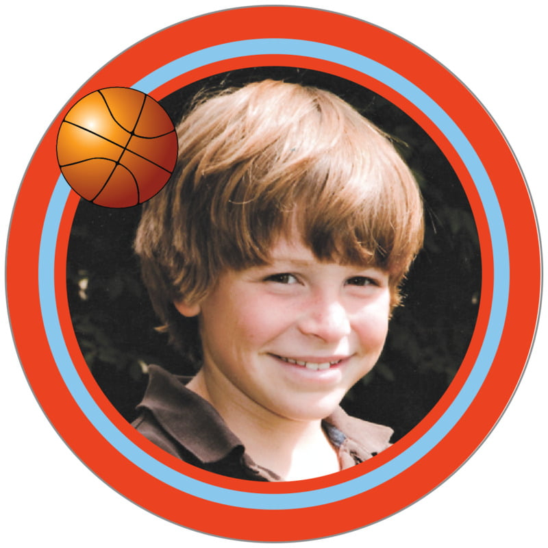 circle photo labels - light blue & orange - basketball (set of 20)