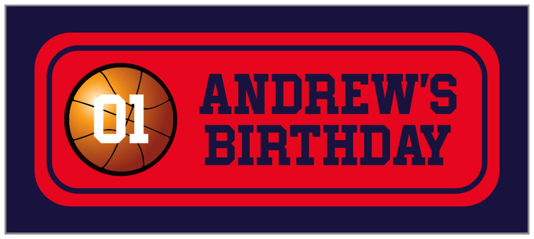 small rectangle food/craft labels - red & navy - basketball (set of 24)