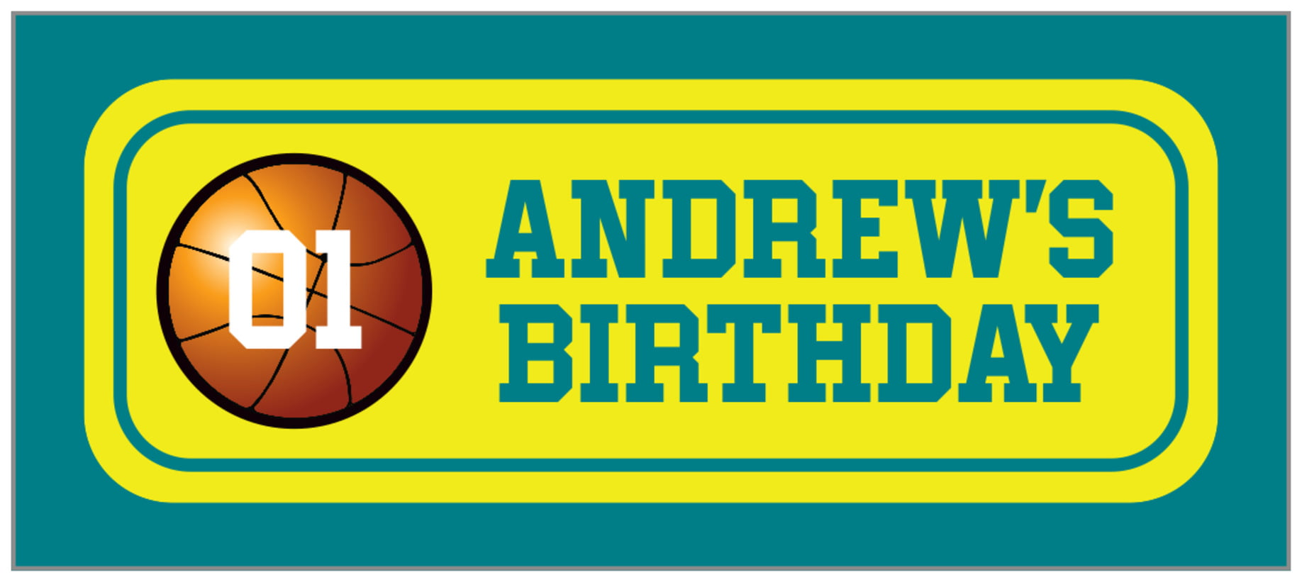 small rectangle food/craft labels - yellow & teal - basketball (set of 24)