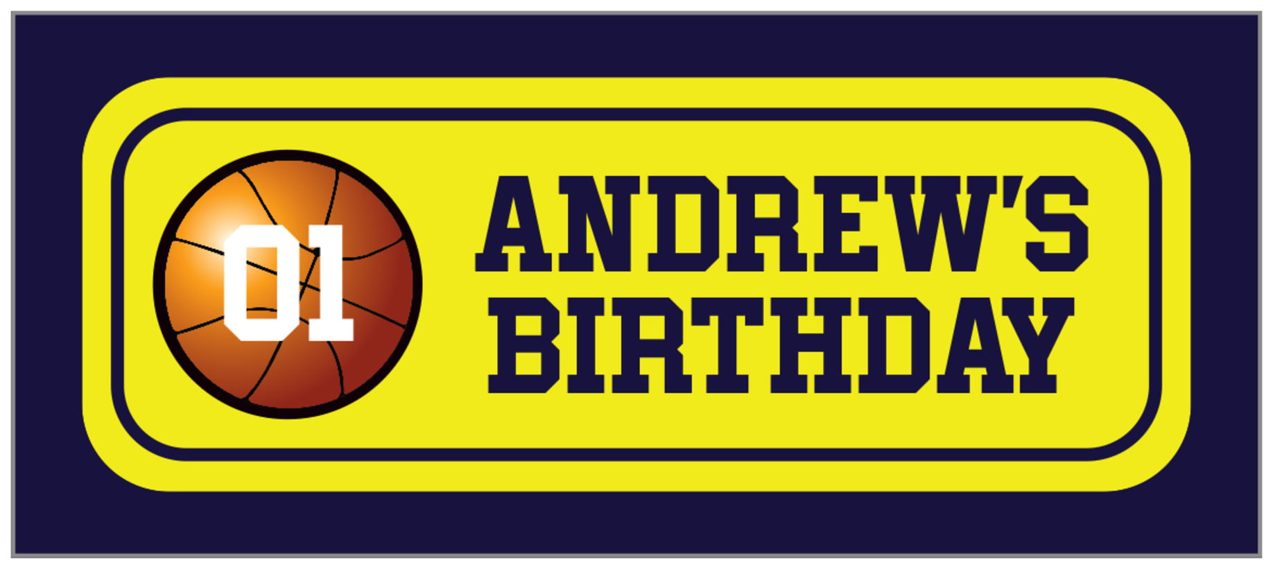 small rectangle food/craft labels - yellow & navy - basketball (set of 24)