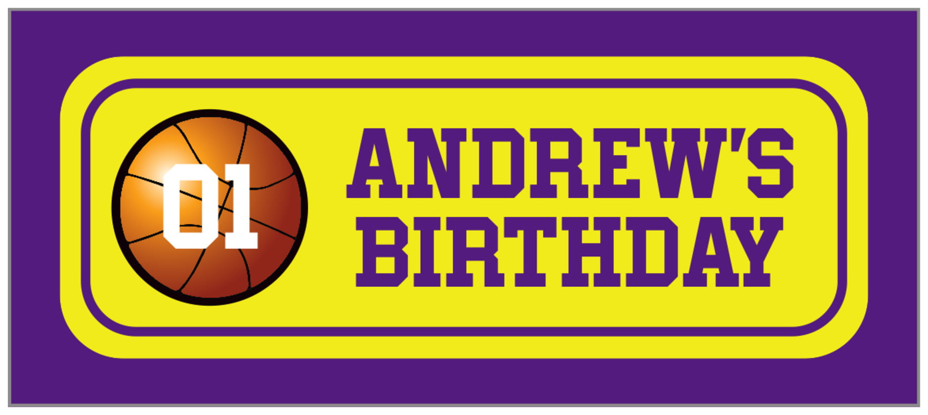 small rectangle food/craft labels - yellow & purple - basketball (set of 24)
