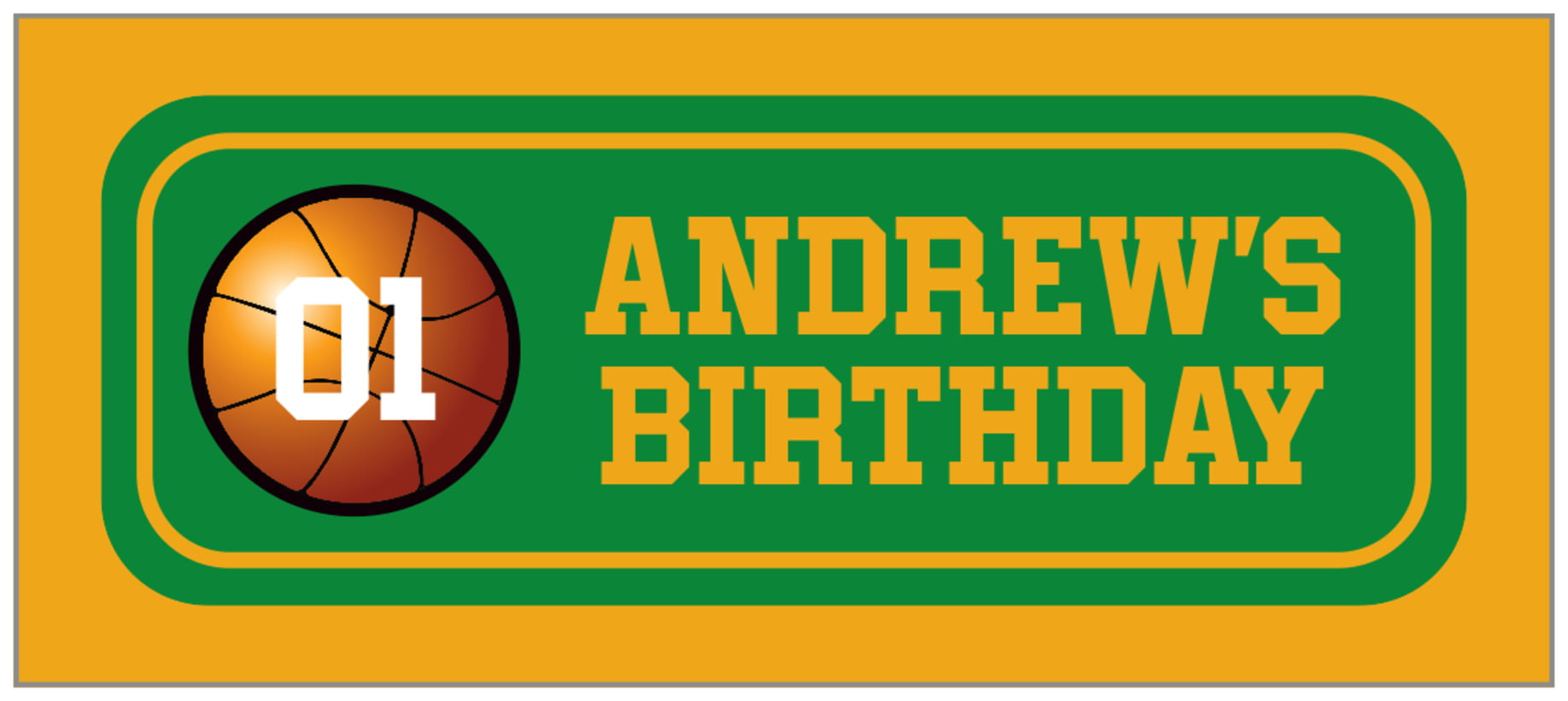 small rectangle food/craft labels - green & gold - basketball (set of 24)