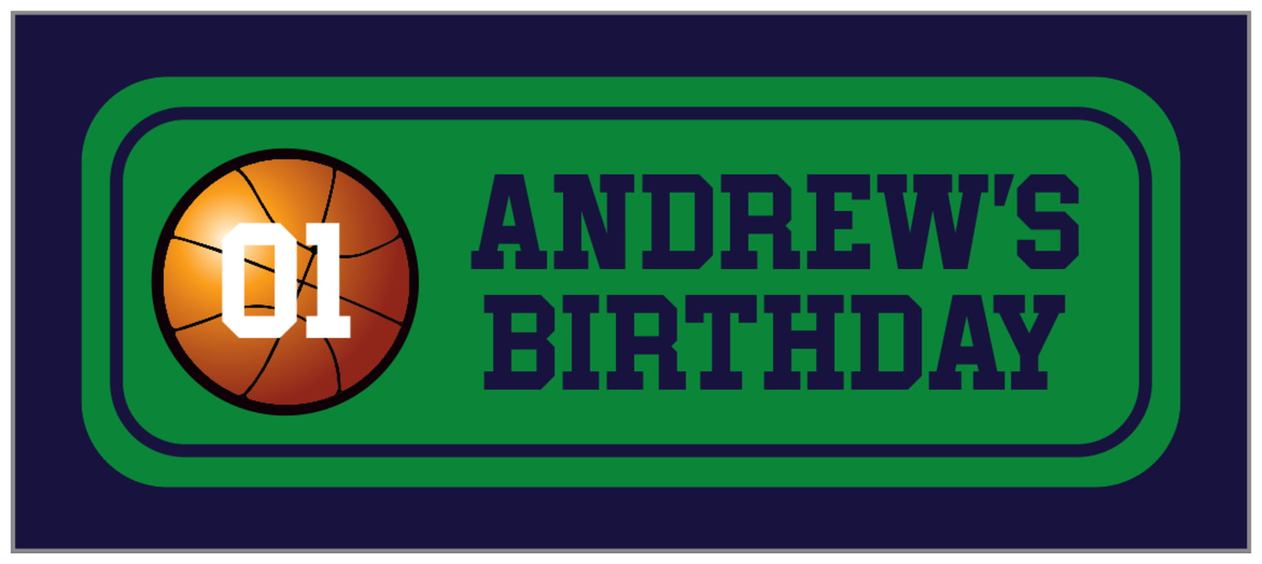 small rectangle food/craft labels - green & navy - basketball (set of 24)