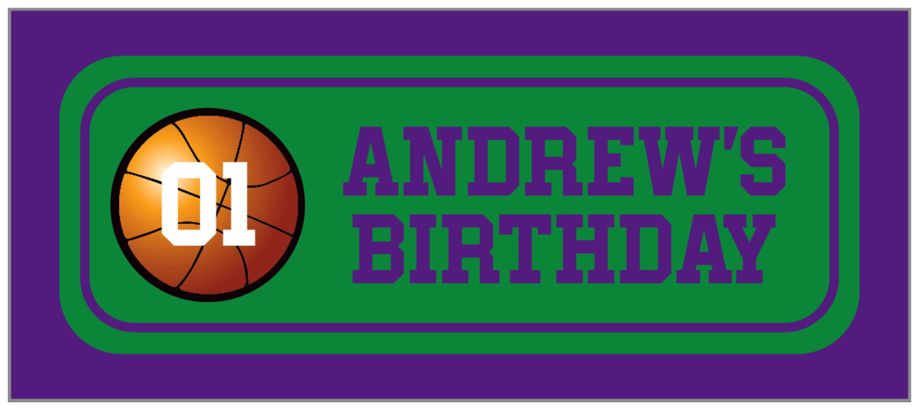 small rectangle food/craft labels - green & purple - basketball (set of 24)