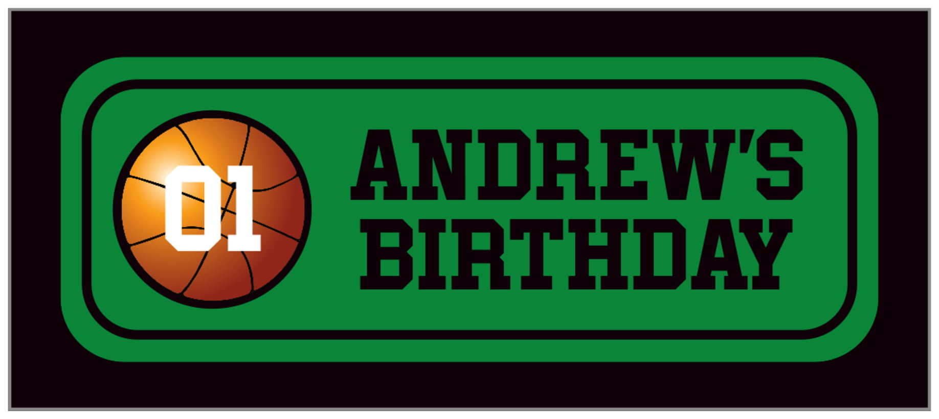 small rectangle food/craft labels - green & black - basketball (set of 24)
