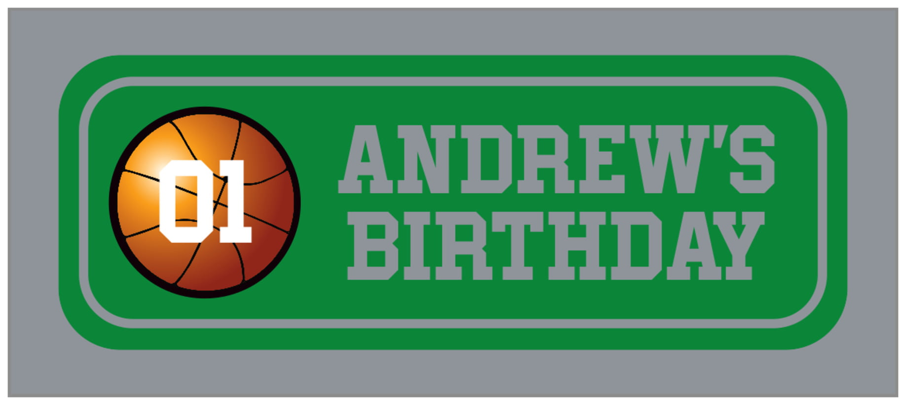 small rectangle food/craft labels - green & silver - basketball (set of 24)