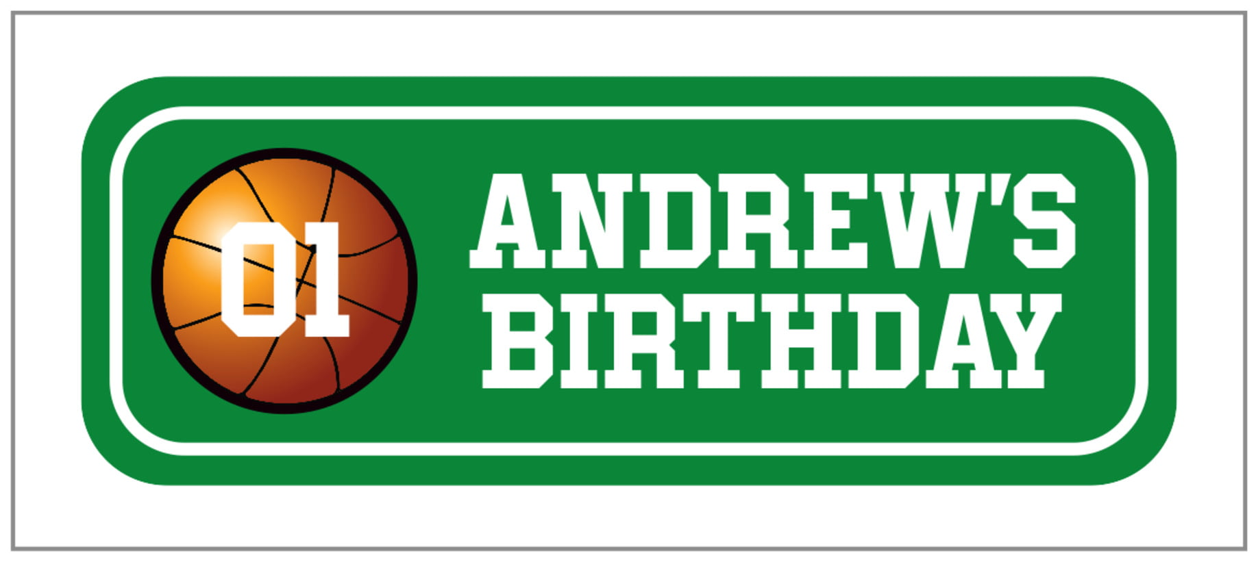 small rectangle food/craft labels - green & white - basketball (set of 24)