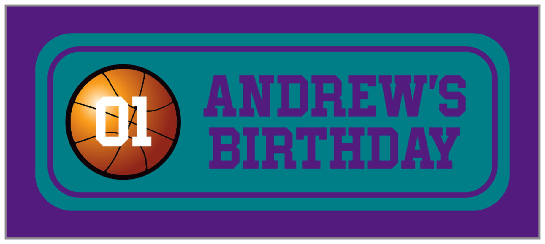 small rectangle food/craft labels - teal & purple - basketball (set of 24)