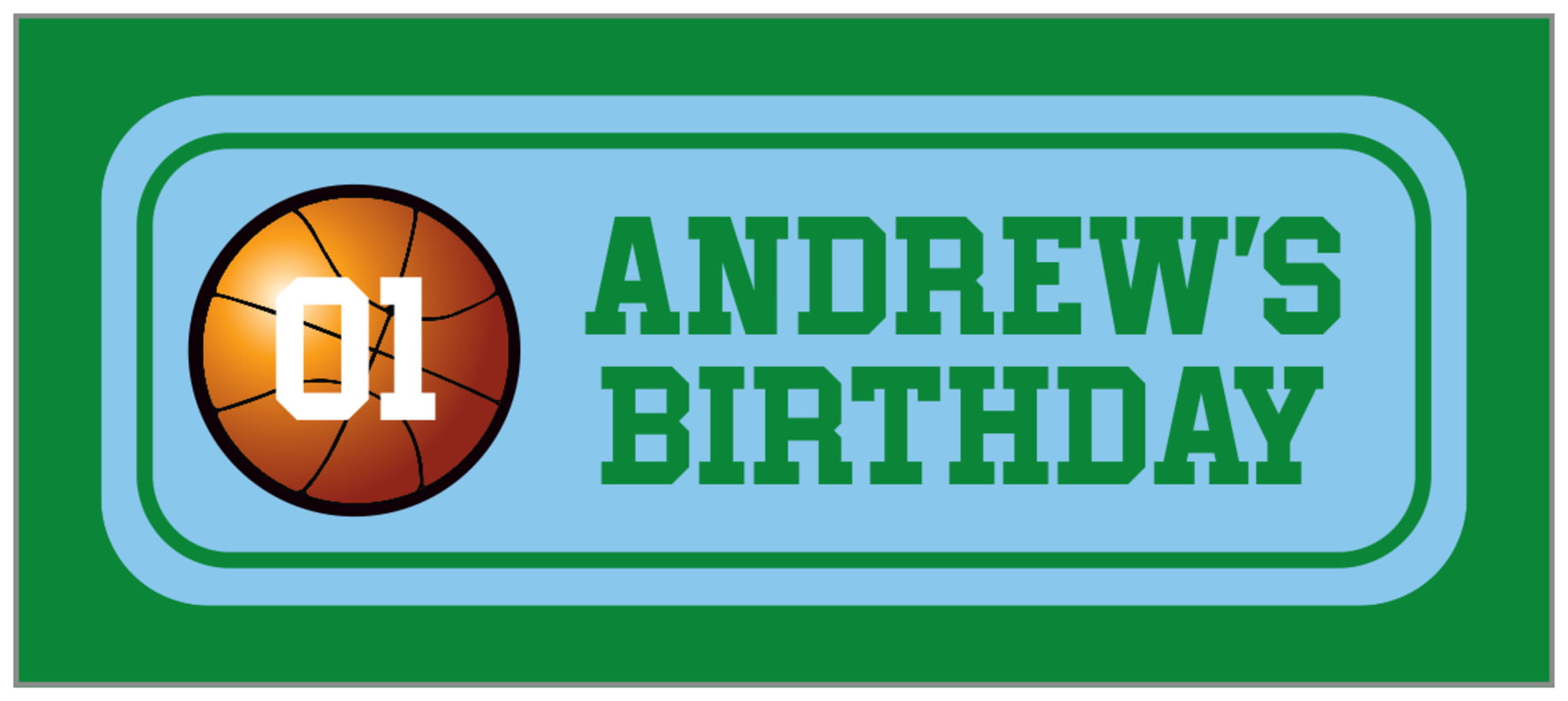 small rectangle food/craft labels - light blue & green - basketball (set of 24)