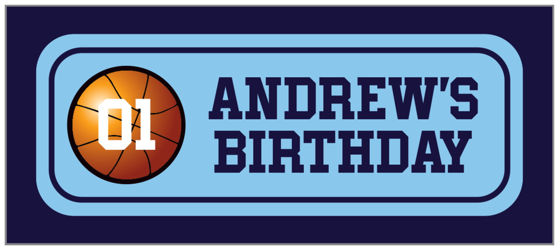 small rectangle food/craft labels - light blue & navy - basketball (set of 24)