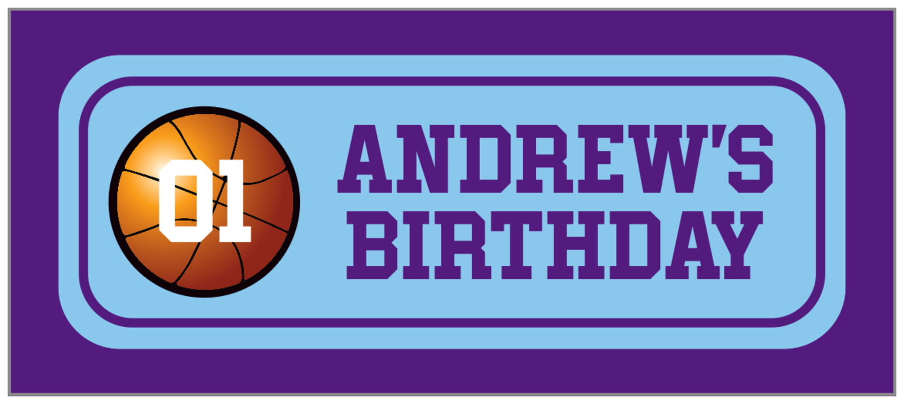 small rectangle food/craft labels - light blue & purple - basketball (set of 24)