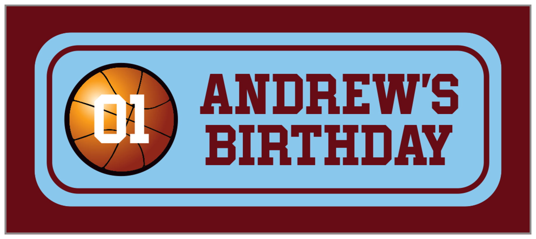 small rectangle food/craft labels - light blue & maroon - basketball (set of 24)