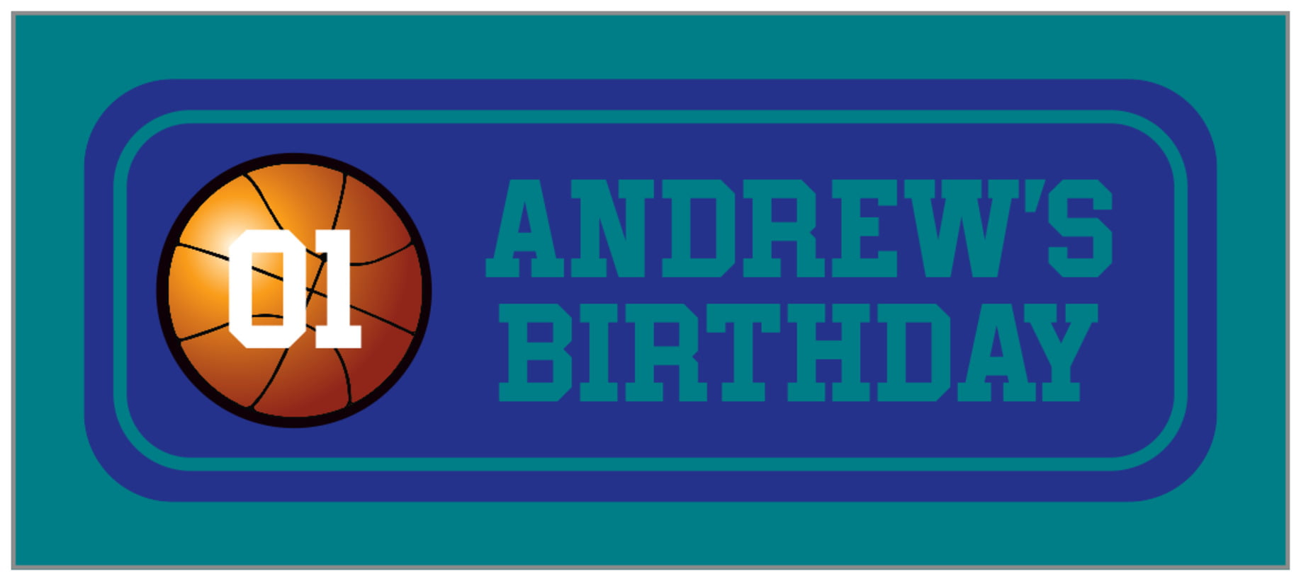 small rectangle food/craft labels - royal & teal - basketball (set of 24)