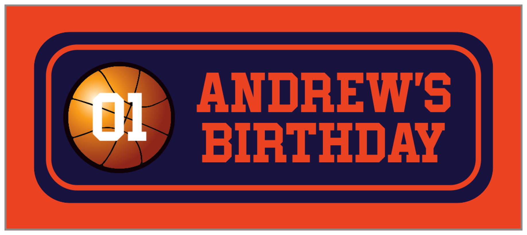 small rectangle food/craft labels - navy & orange - basketball (set of 24)
