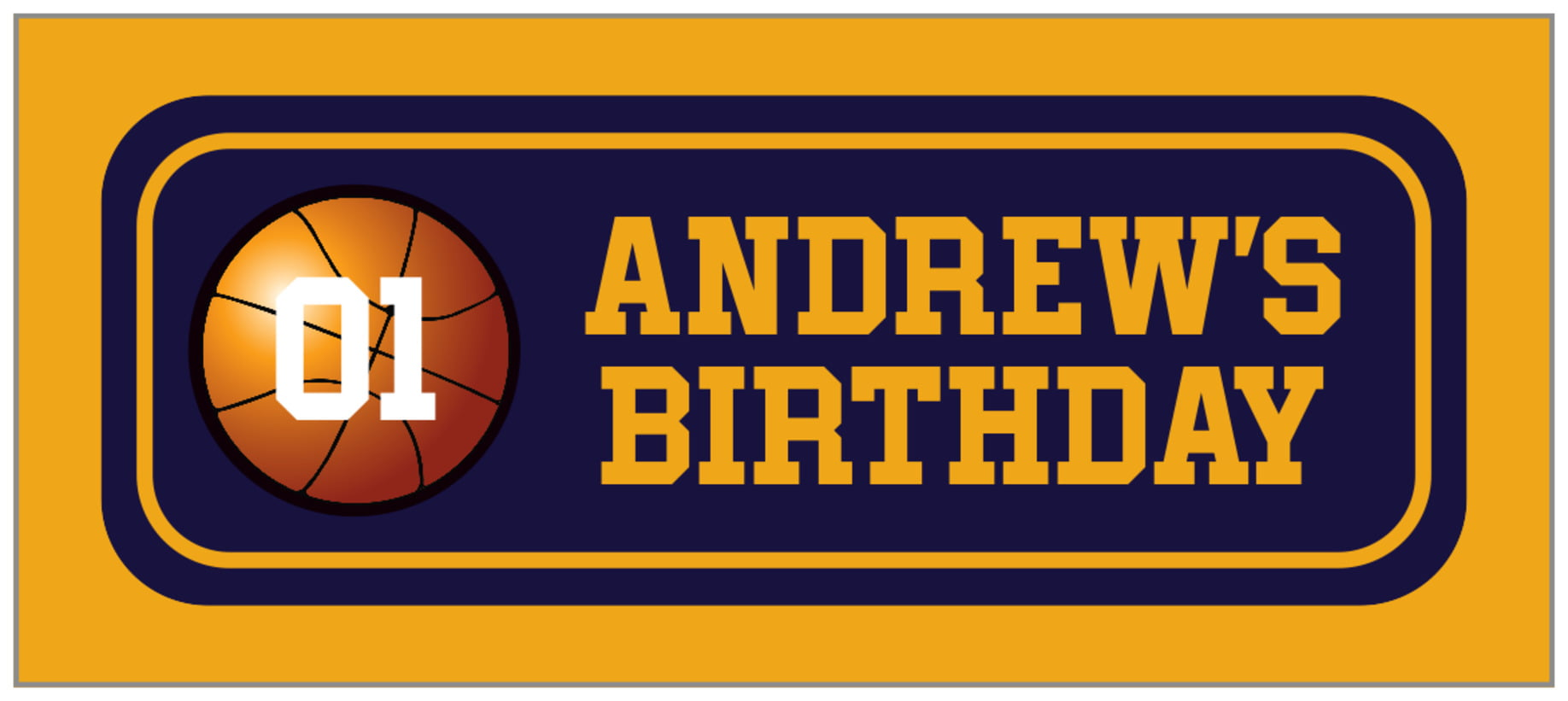 small rectangle food/craft labels - navy & gold - basketball (set of 24)
