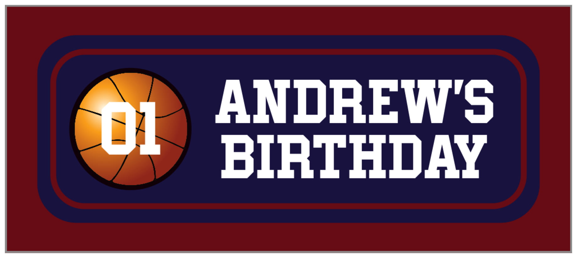 small rectangle food/craft labels - navy & maroon - basketball (set of 24)