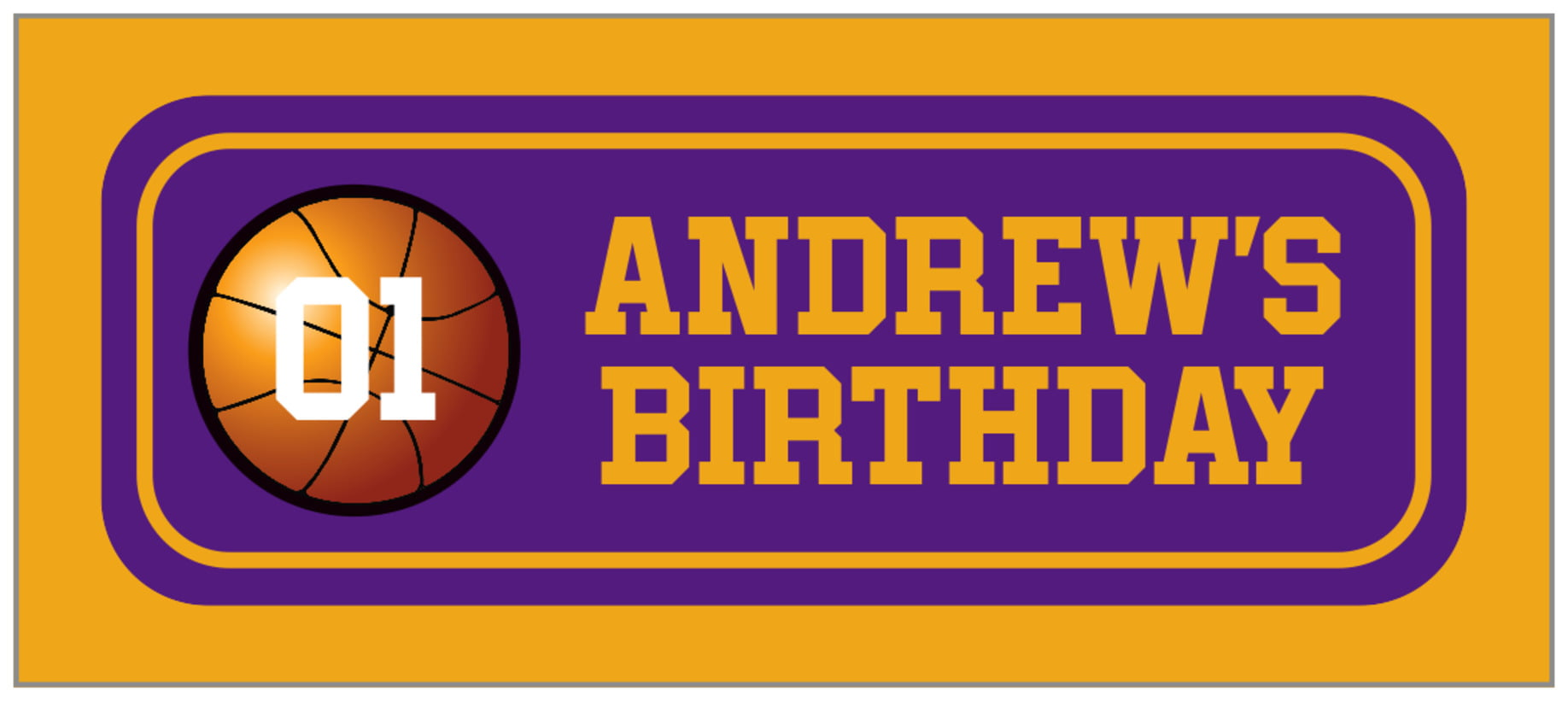 small rectangle food/craft labels - purple & gold - basketball (set of 24)