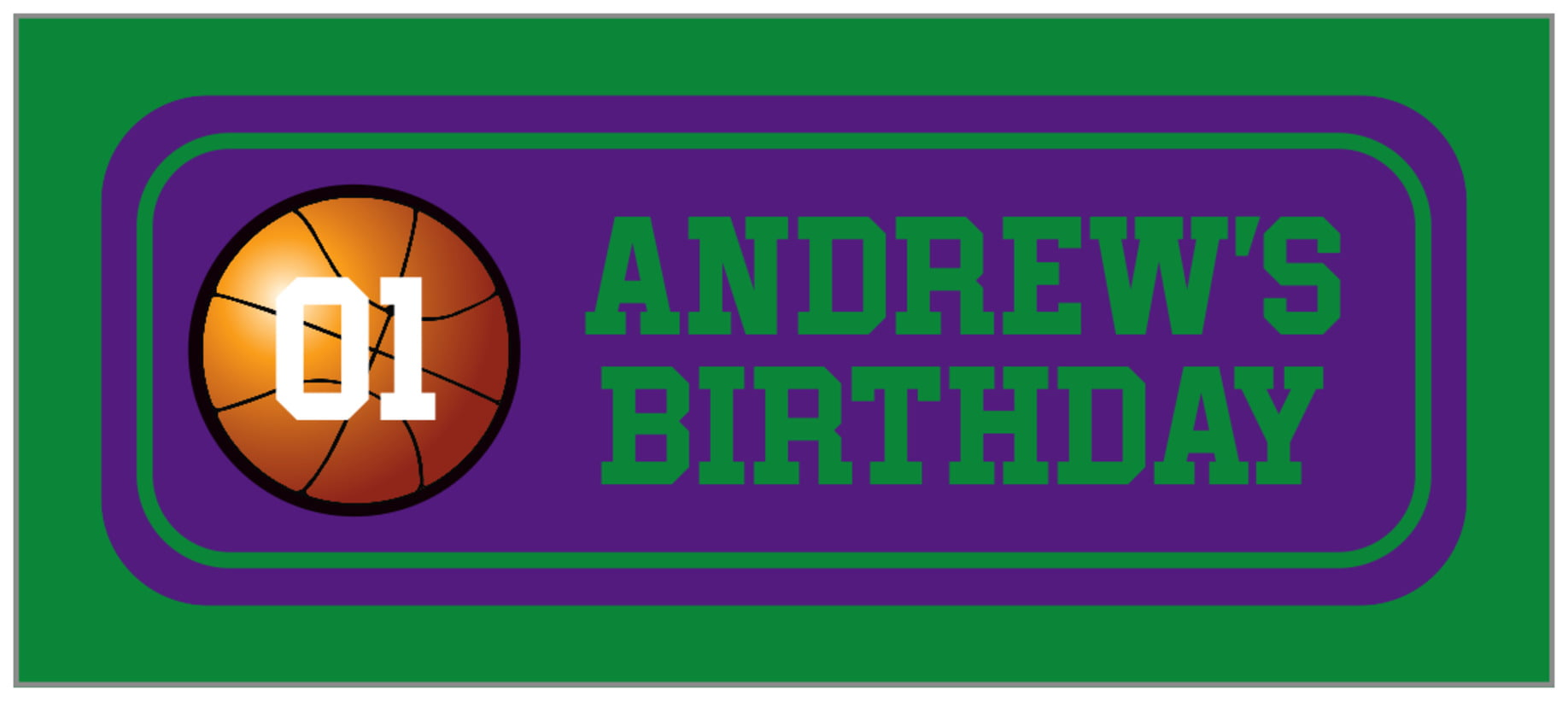 small rectangle food/craft labels - purple & green - basketball (set of 24)
