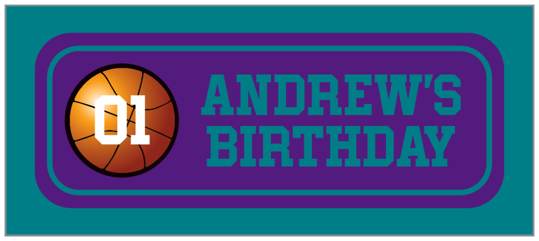 small rectangle food/craft labels - purple & teal - basketball (set of 24)