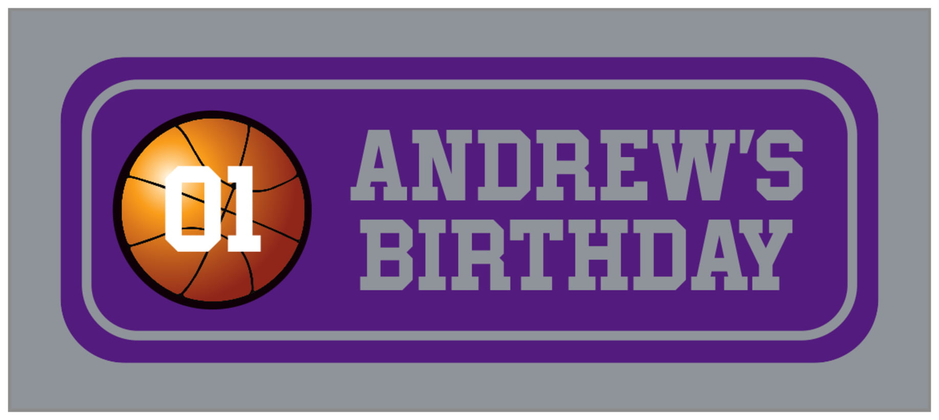 small rectangle food/craft labels - purple & silver - basketball (set of 24)
