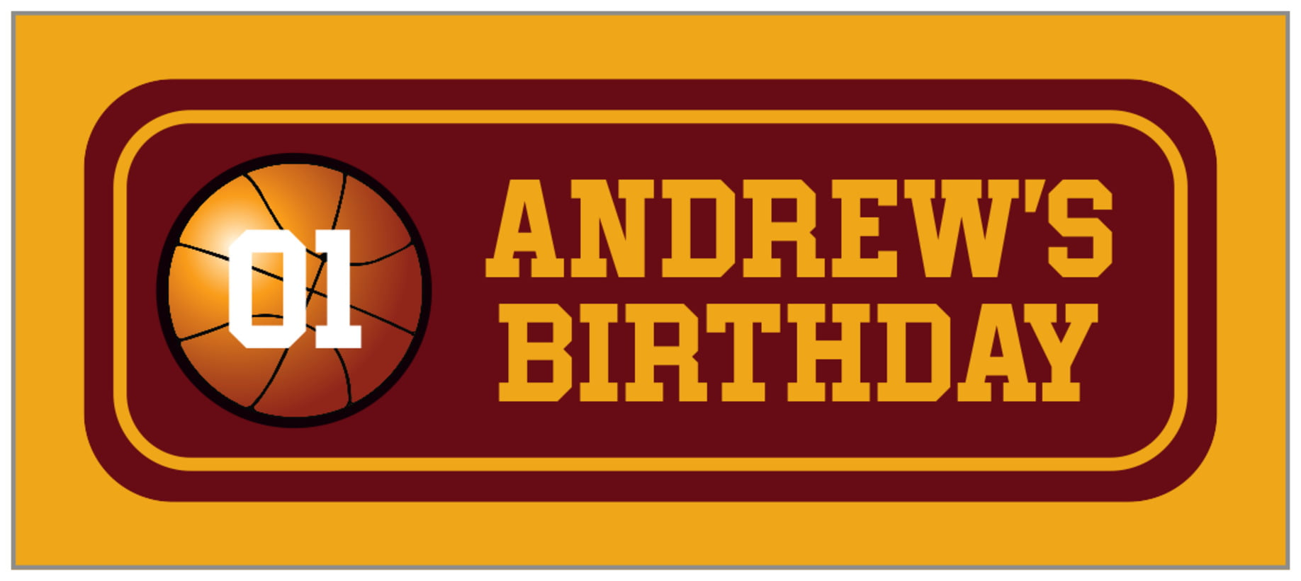 small rectangle food/craft labels - maroon & gold - basketball (set of 24)