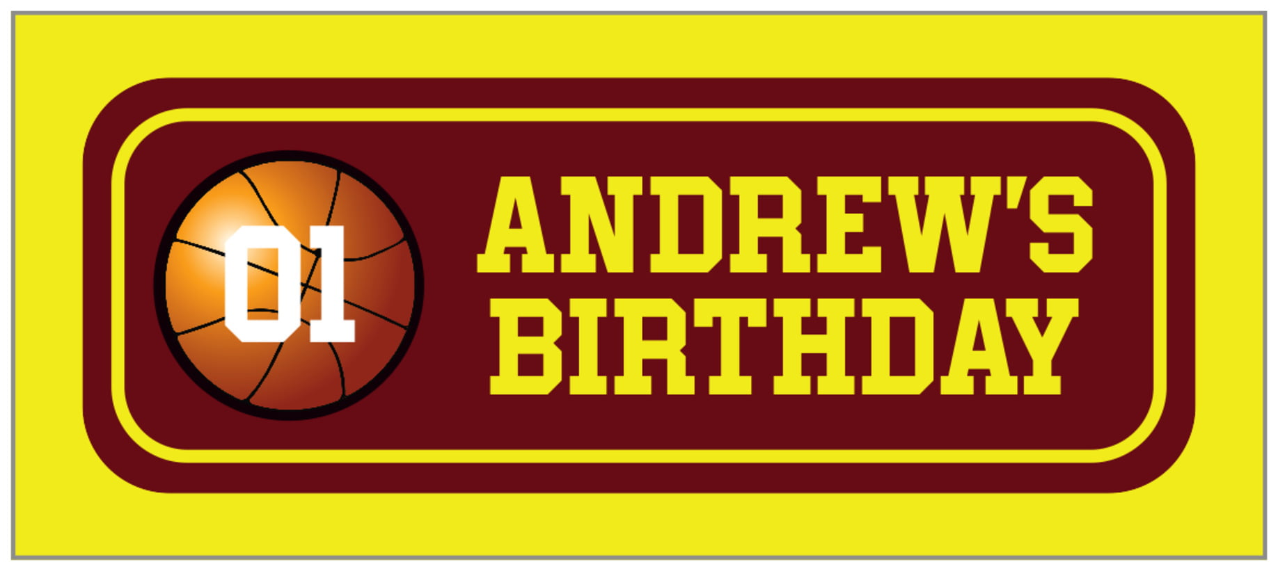 small rectangle food/craft labels - maroon & yellow - basketball (set of 24)