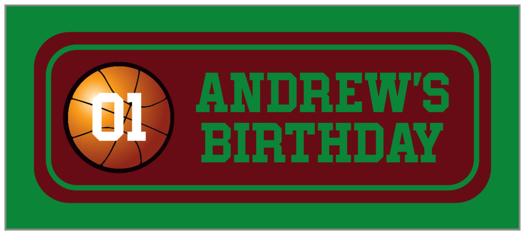 small rectangle food/craft labels - maroon & green - basketball (set of 24)