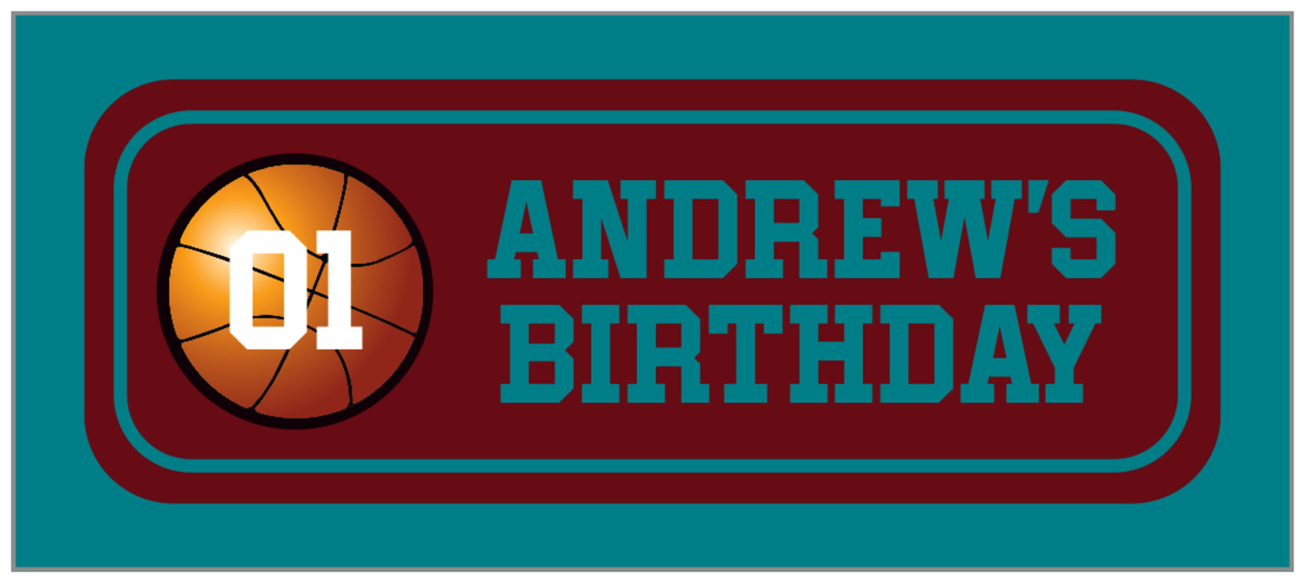 small rectangle food/craft labels - maroon & teal - basketball (set of 24)