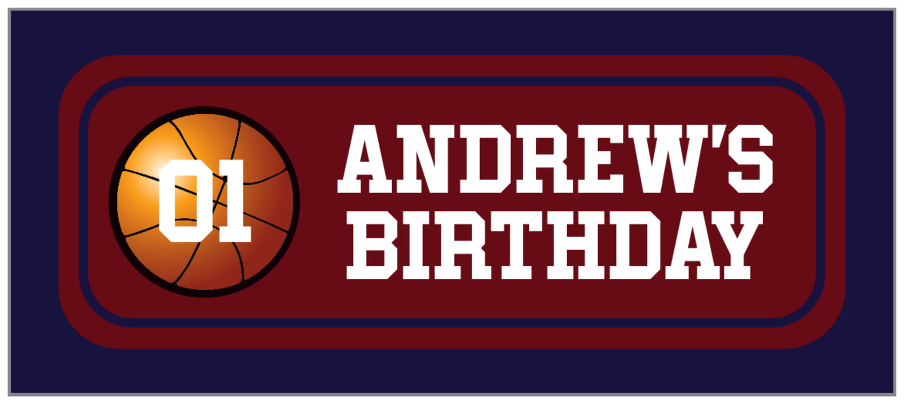 small rectangle food/craft labels - maroon & navy - basketball (set of 24)