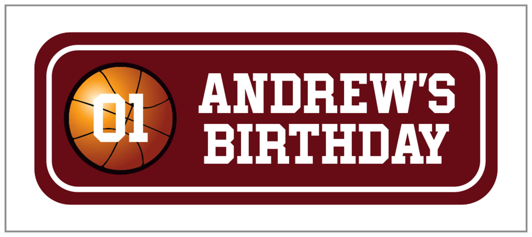 small rectangle food/craft labels - maroon & white - basketball (set of 24)