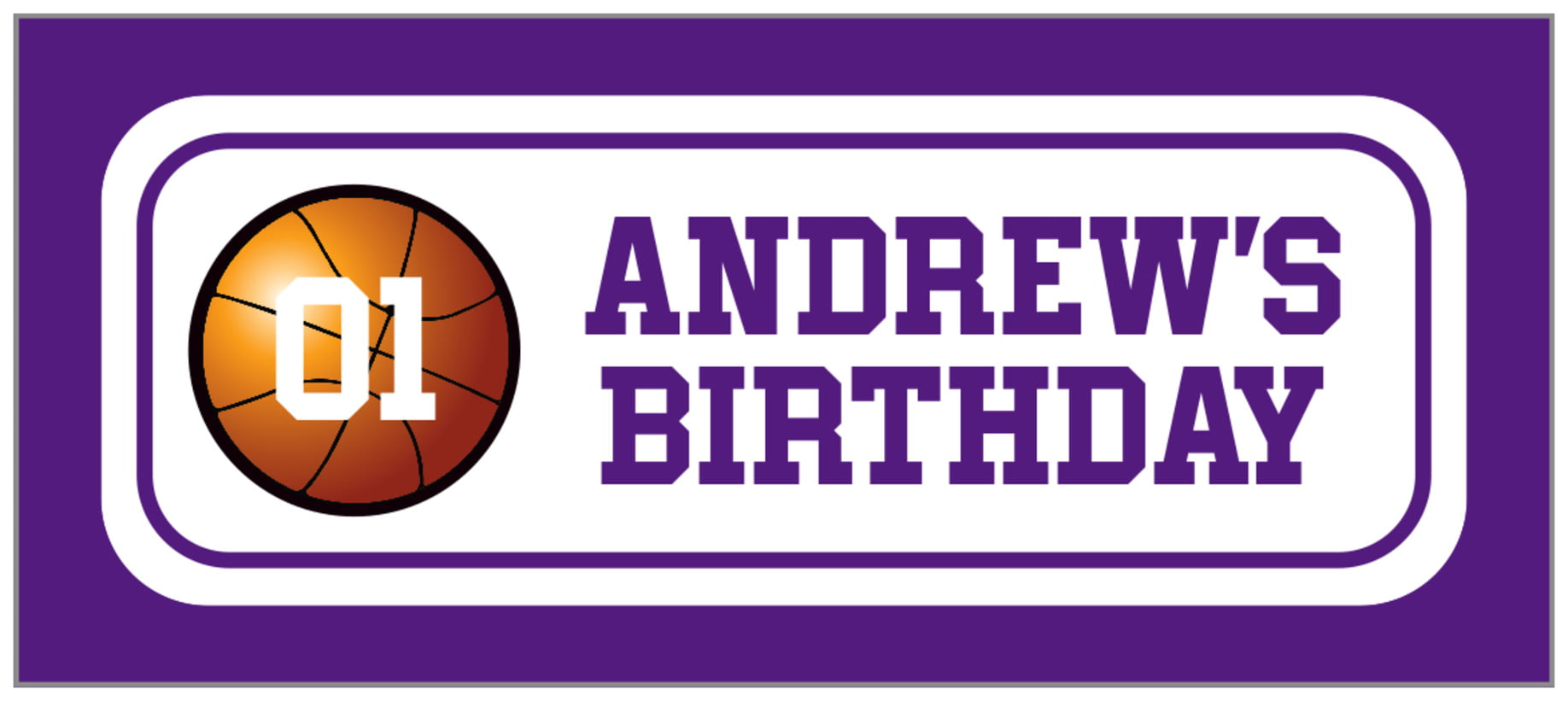 small rectangle food/craft labels - white & purple - basketball (set of 24)
