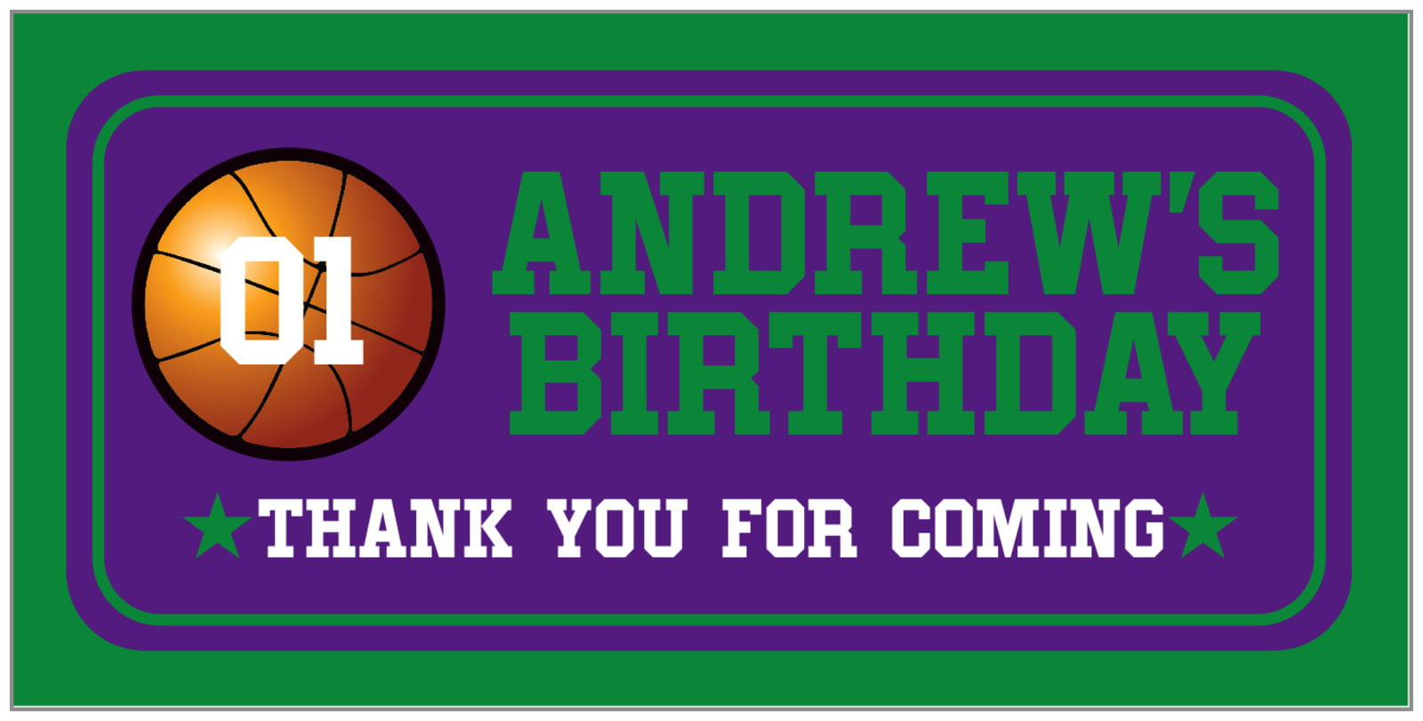 small rectangular food/craft labels - purple & green - basketball (set of 24)