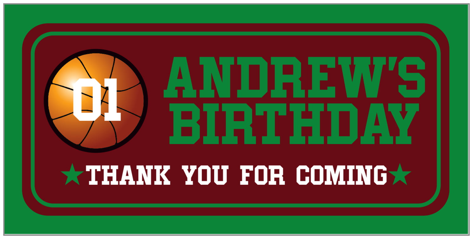 small rectangular food/craft labels - maroon & green - basketball (set of 24)
