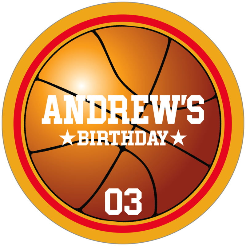 circle food/craft labels - red & gold - basketball (set of 12)