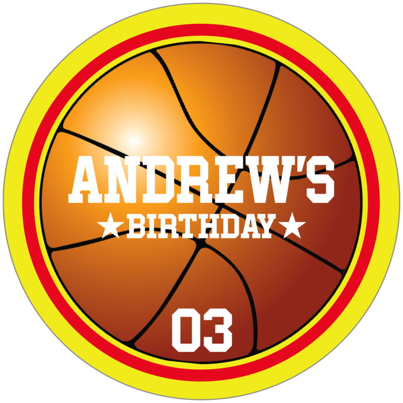 circle food/craft labels - red & yellow - basketball (set of 12)