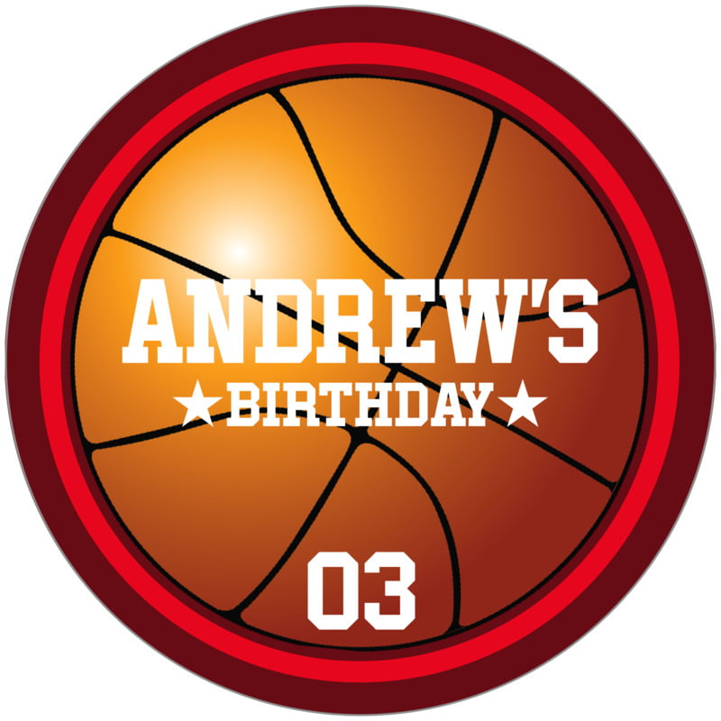 circle food/craft labels - red & maroon - basketball (set of 12)