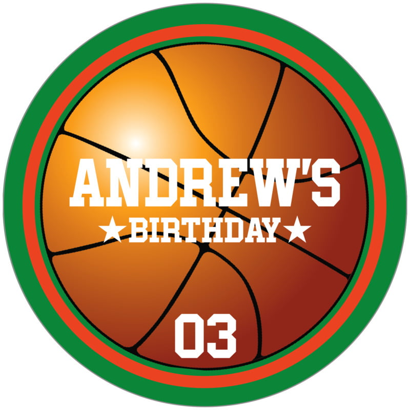 circle food/craft labels - orange & green - basketball (set of 12)