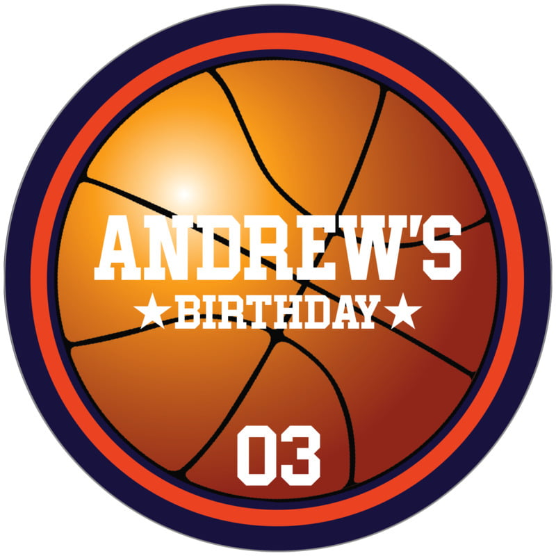 circle food/craft labels - orange & navy - basketball (set of 12)