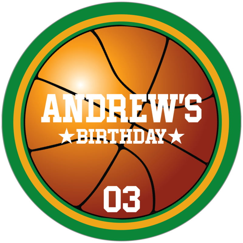 circle food/craft labels - gold & green - basketball (set of 12)