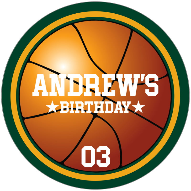 circle food/craft labels - gold & forest - basketball (set of 12)