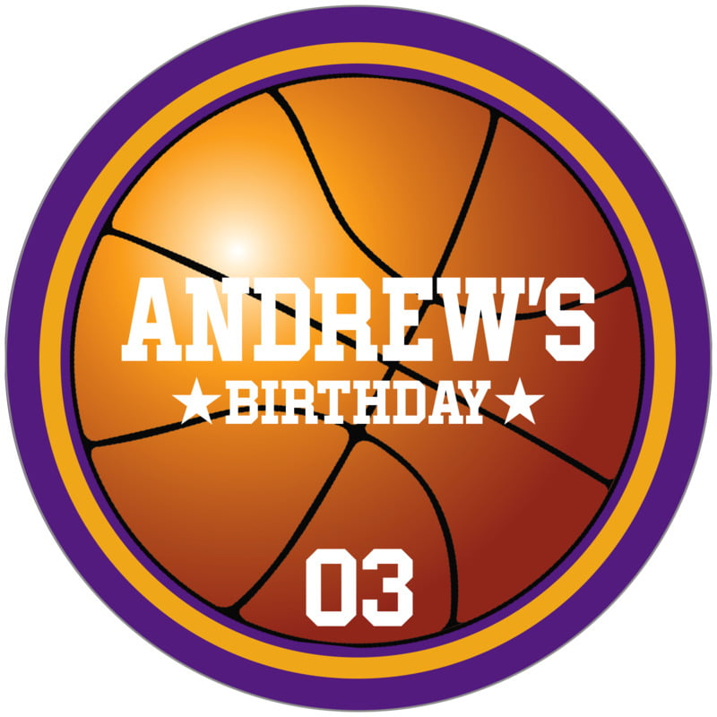 circle food/craft labels - gold & purple - basketball (set of 12)