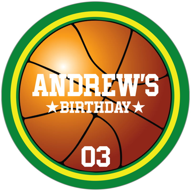 circle food/craft labels - yellow & green - basketball (set of 12)