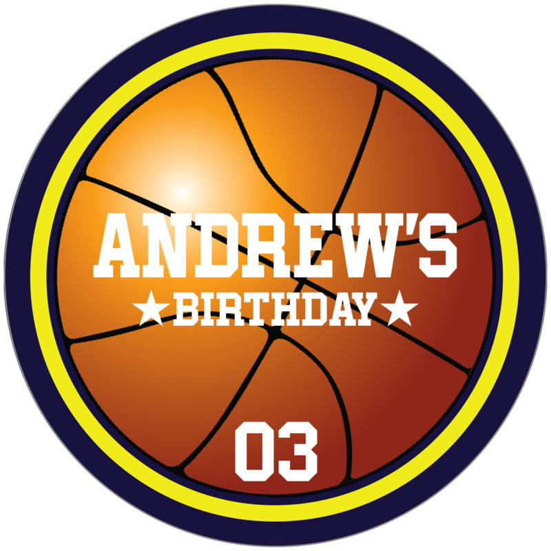 circle food/craft labels - yellow & navy - basketball (set of 12)