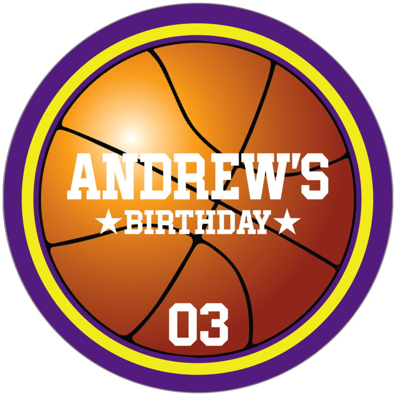 circle food/craft labels - yellow & purple - basketball (set of 12)