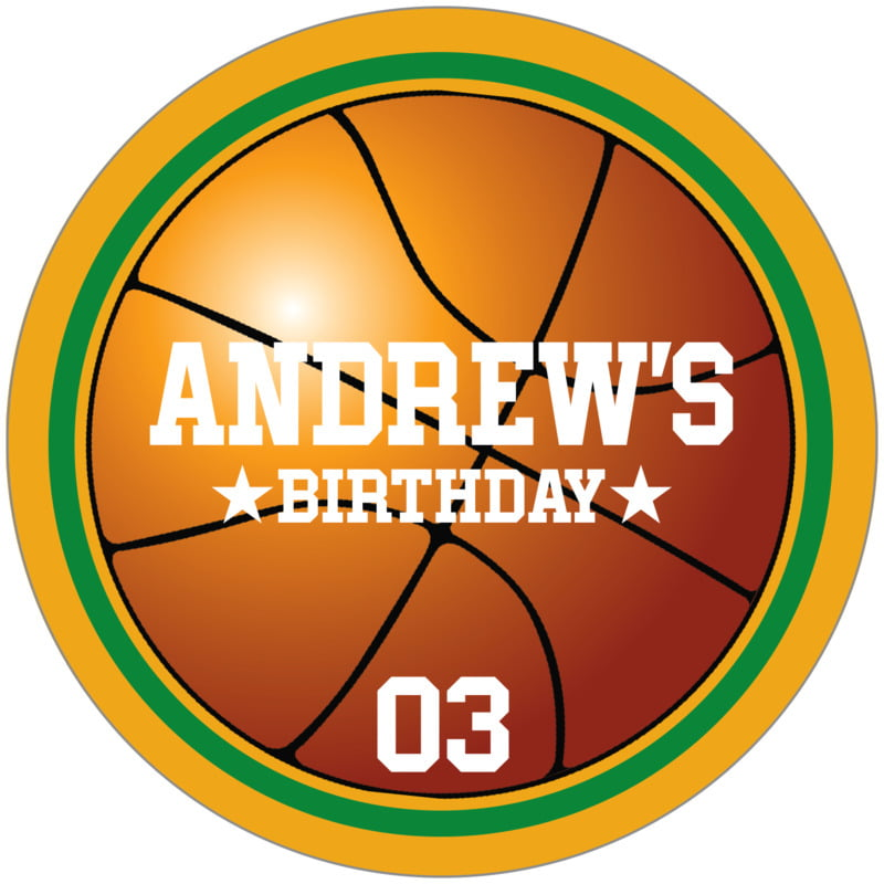 circle food/craft labels - green & gold - basketball (set of 12)